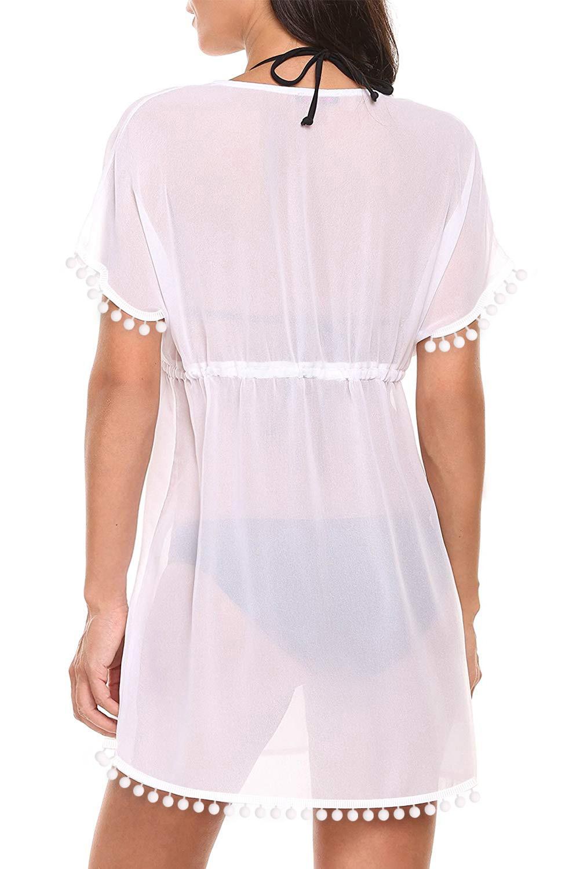 白色深V领绒球流苏腰间抽绳设计度假沙滩裙 LC420222