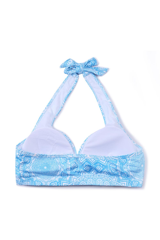 蓝色独特印花挂脖瑜伽文胸 LC26061