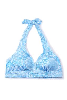蓝色独特印花挂脖瑜伽文胸