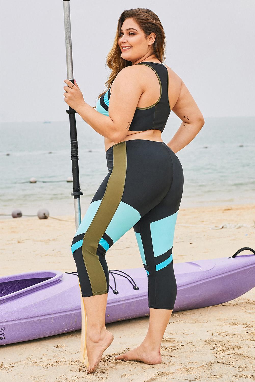 浅蓝色时尚撞色拼接拉链短背心七分长裤加大码泳装 LC412130