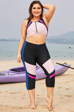 粉色时尚撞色拼接拉链短背心七分长裤加大码泳装