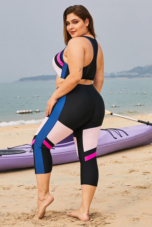 粉色时尚撞色拼接拉链短背心七分长裤加大码泳装 LC412130