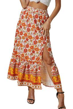 橙色松紧腰身优雅荷叶边花卉印花半身裙