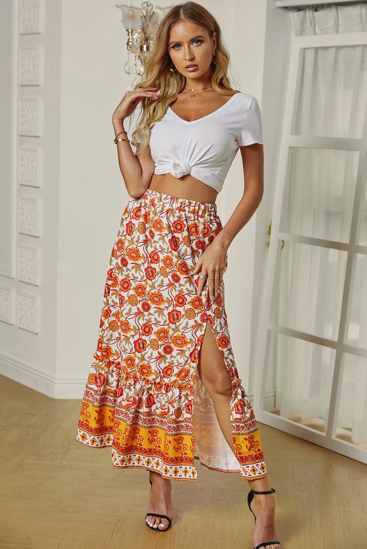 橙色松紧腰身优雅荷叶边花卉印花半身裙 LC65231