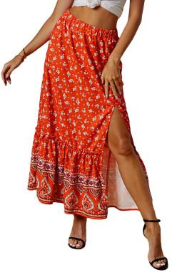 橘红色松紧腰身优雅荷叶边花卉印花半身裙