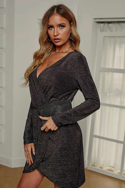 时髦包裹式V领金属丝束腰连衣裙 LC221112