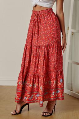 红色波西米亚印花弹力高腰褶裥碎花长裙