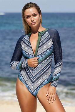 蓝绿色长袖印花拉链冲浪防嗮一件式泳装