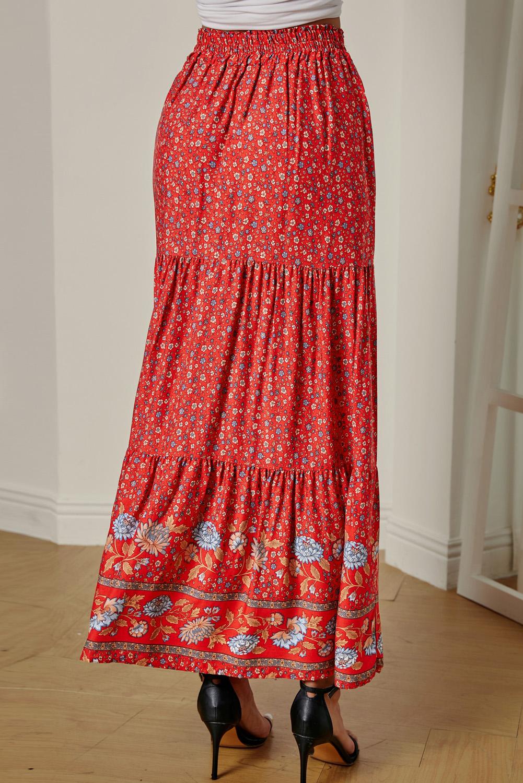 红色波西米亚印花弹力高腰褶裥碎花长裙 LC65251