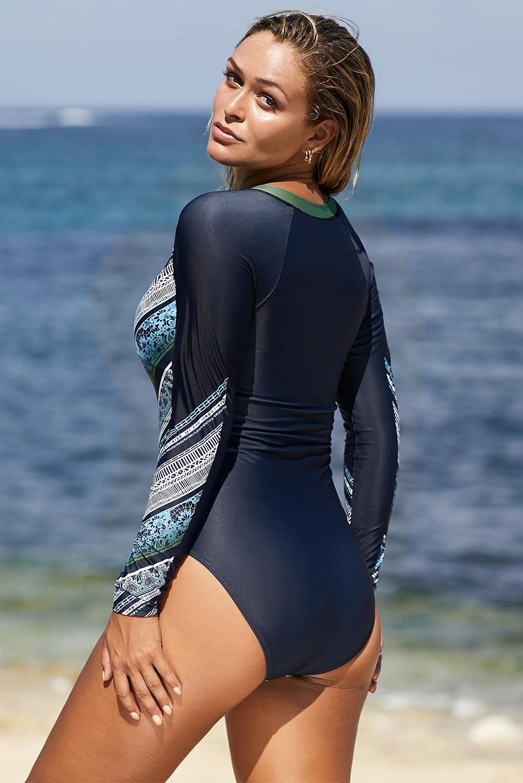 蓝绿色长袖印花拉链冲浪防嗮一件式泳装 LC412055