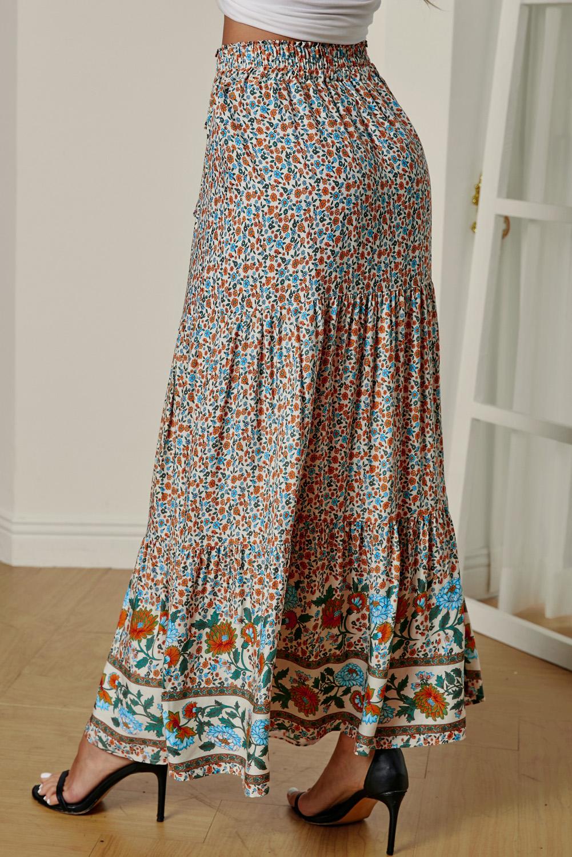 多色波西米亚印花弹力高腰褶裥碎花长裙 LC65251