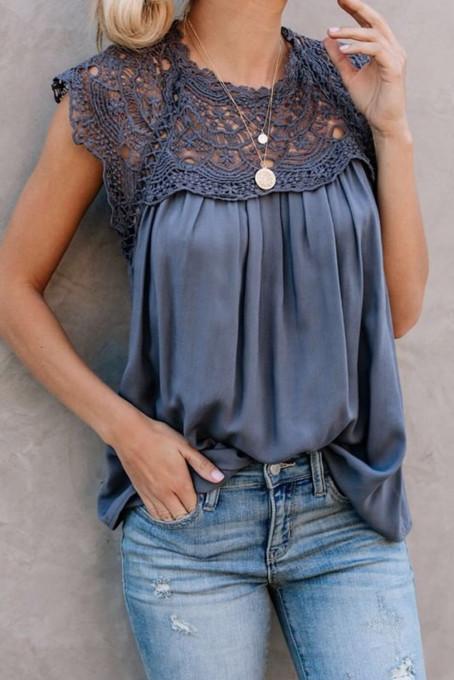 蓝色时尚蕾丝拼接垂褶宽松夏季无袖上衣
