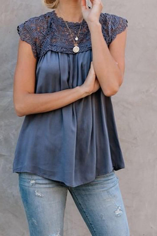 蓝色时尚蕾丝拼接垂褶宽松夏季无袖上衣 LC253380