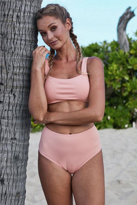 粉色罗纹针织无钢圈运动文胸高腰比基尼套装
