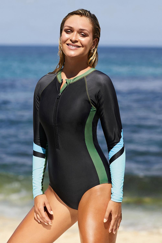 绿色长袖半拉链运动风格冲浪防晒连体泳装 LC412050