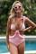 粉色时尚印花镂空设计荷叶边连体泳装