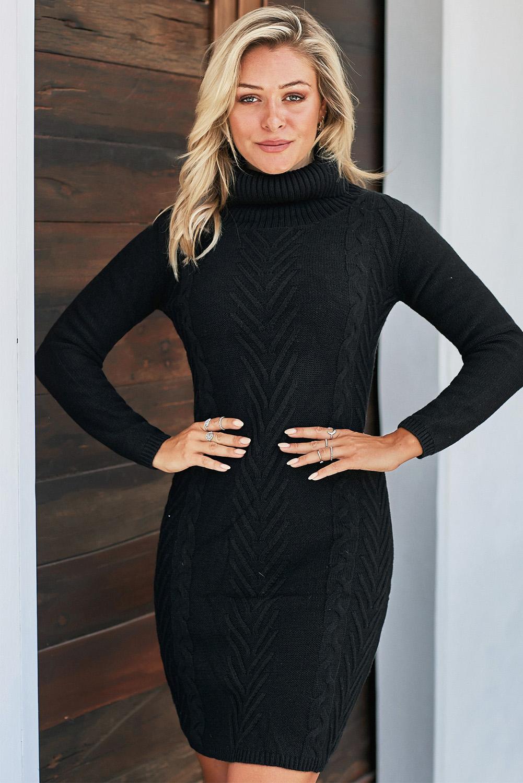 黑色时尚针织高领长袖舒适毛衣连衣裙 LC270219