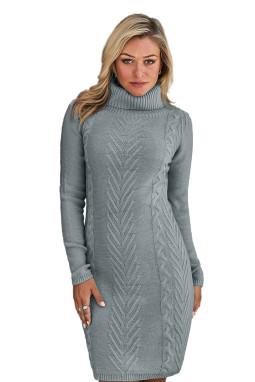 灰色时尚针织高领长袖舒适毛衣连衣裙