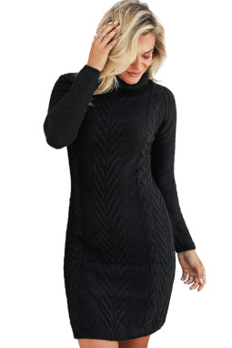 黑色时尚针织高领长袖舒适毛衣连衣裙