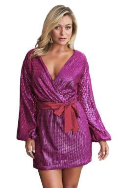 紫红色闪耀亮片点缀裹身V领宽松长袖迷你连衣裙