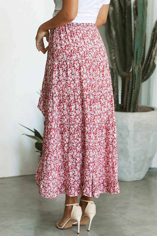红色印花高低荷叶边下摆中长款半身裙 LC65229