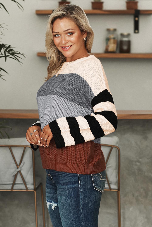 灰色圆领长袖拼色色块宽松套头针织毛衣 LC270188