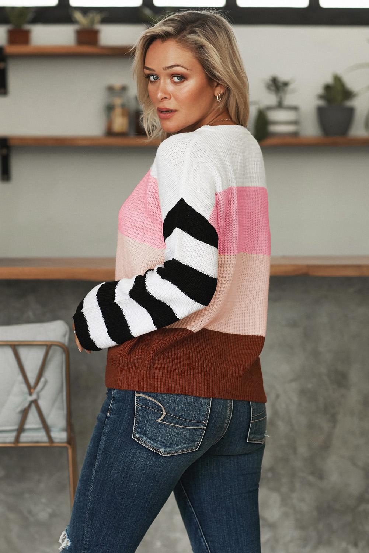 粉色圆领长袖拼色色块宽松套头针织毛衣 LC270188