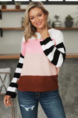 粉色圆领长袖拼色色块宽松套头针织毛衣