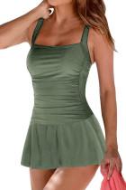 绿色褶皱软垫撑高裙式连体泳装