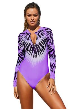 紫色时尚扎染印花长袖半拉链设计连体泳装