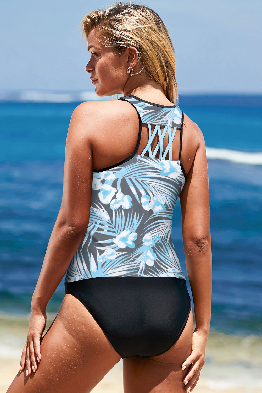 灰蓝色度假印花交叉后背运动背心式泳衣 LC412136