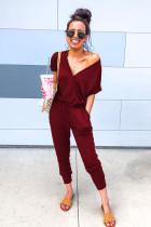 酒红色包裹式V领抽绳束带时尚舒适连身裤
