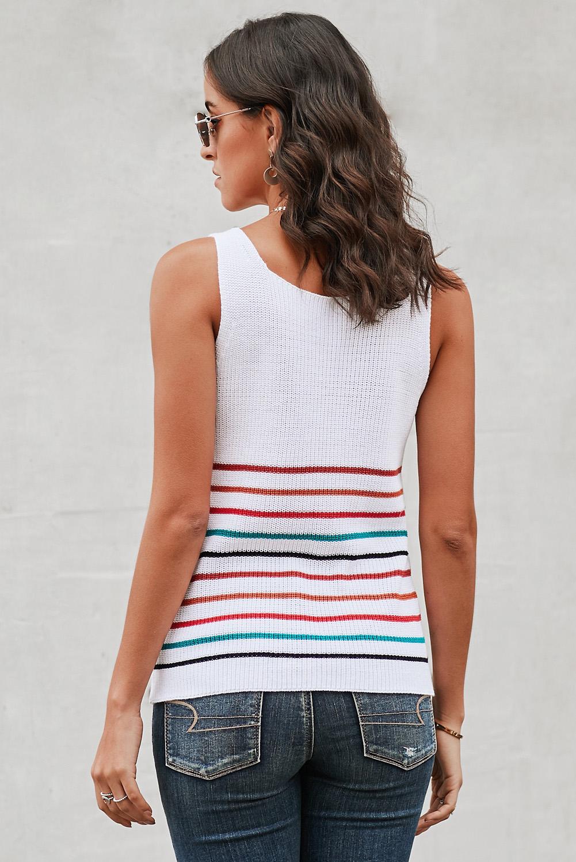 白色时尚彩虹条纹可爱女士背心 LC253432