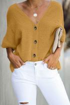黄色V领短袖舒适宽松纽扣衬衣
