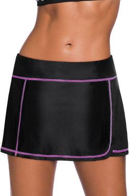 紫色缝边设计黑色裙式泳裤