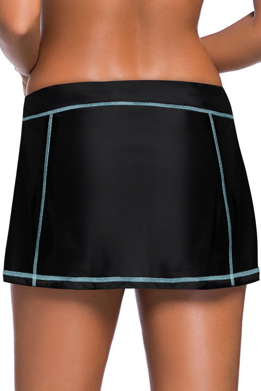 天蓝色缝边设计黑色裙式泳裤 LC412137