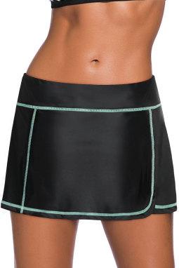 薄荷蓝缝边设计黑色裙式泳裤