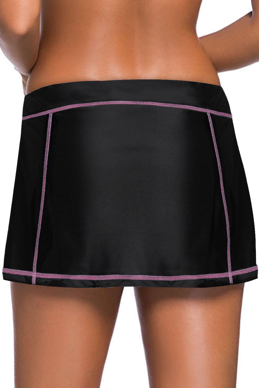 橙色缝边设计黑色裙式泳裤 LC412137