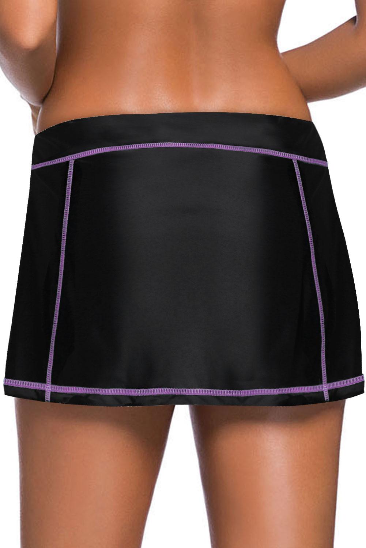 玫瑰色缝边设计黑色裙式泳裤 LC412137
