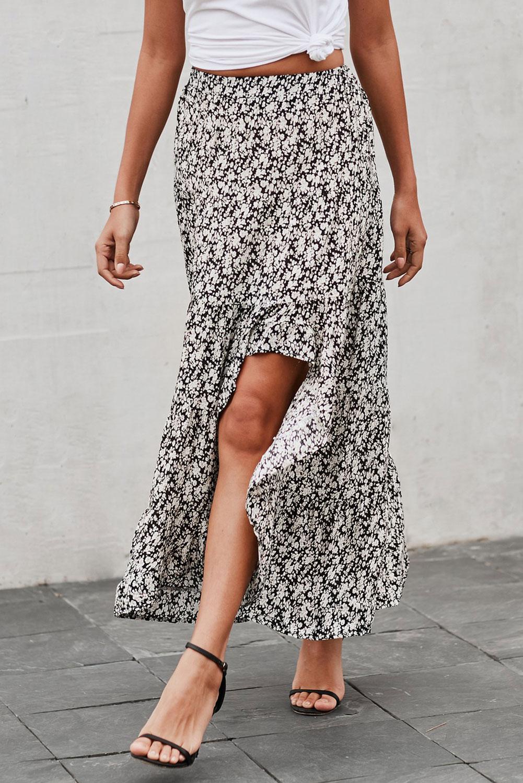 黑色印花高低荷叶边下摆中长款半身裙 LC65229