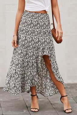 黑色印花高低荷叶边下摆中长款半身裙