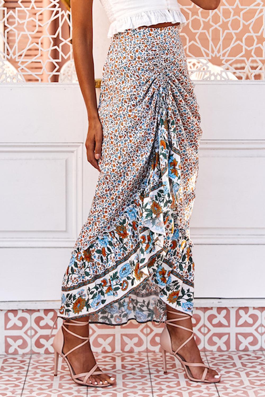 清新碎花抽绳束带荷叶边高低下摆优雅半身裙 LC65253