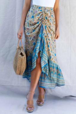 蓝色碎花抽绳束带荷叶边高低下摆优雅半身裙