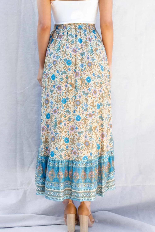蓝色碎花抽绳束带荷叶边高低下摆优雅半身裙 LC65253