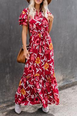 红色花朵印花分层短袖收腰排扣荷叶边飘逸宽松长裙