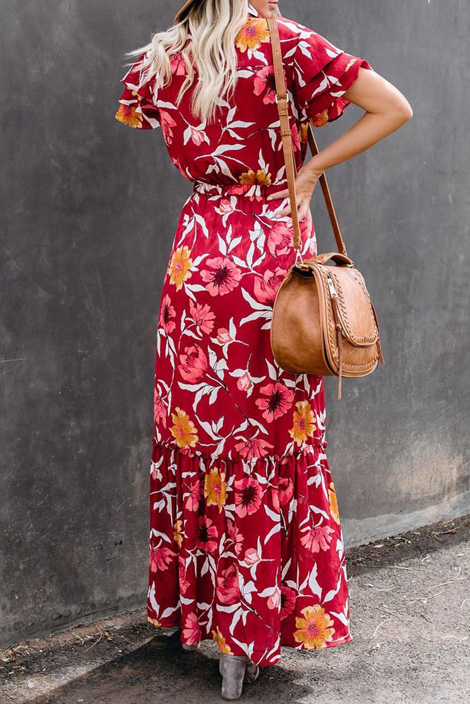 红色花朵印花分层短袖收腰排扣荷叶边飘逸宽松长裙 LC611709