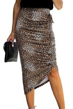 豹纹印花抽绳调节褶皱中长半身裙