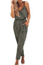 流行豹纹印花裹身式V领细肩带长款宽松连身裤