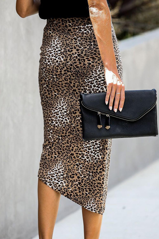豹纹印花抽绳调节褶皱中长半身裙 LC65274