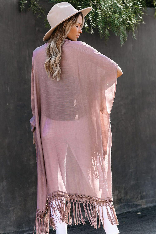 藕荷色蕾丝流苏高低下摆和服式开衫 LC85482
